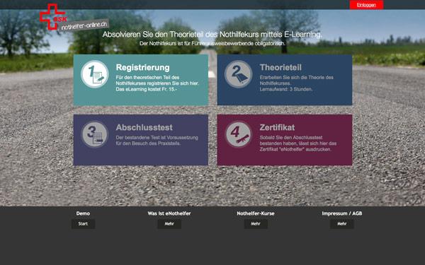 SSK eNothelfer Screenshot der Webseite