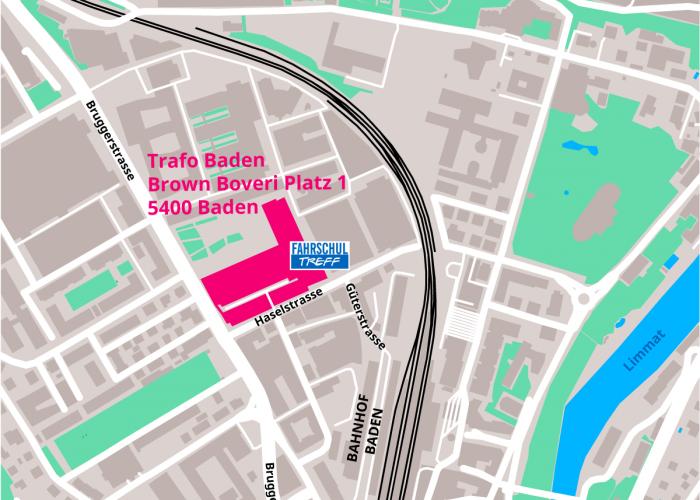 Lageplan Trafo Baden - Kultur- und Kongresszentrum - Fahrschultreff